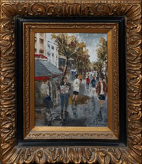 """Josep Bonet Subirats (1965-, Spain), """"Street Scene,"""" 21st c., oil on canvas, signed lower right, presented in a highly carved gilt frame, H.- 15 1/2 i"""