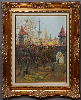 """Aragat G. Kalachian (Estonia), """"The City Gate, Tallinn, Estonia,"""" c. 2001, oil on canvas, signed and dated lower right, signed and dated en verso, pre"""