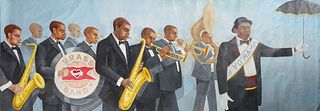 """Franco Alessandrini (1944-, New Orleans/Italian), """"Yo'Mama Brass Band,"""" 20th c., oil on canvas, unsigned, previously affixed to a wall, H.- 58 1/2 in."""