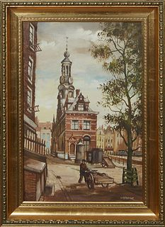 """Jansma, """"Muttoren, Amsterdam,"""" 20th c., oil on canvas, signed lower right, presented in a gilt relief frame, H.- 23 in., W.- 15 1/4 in., Framed- H.- 2"""