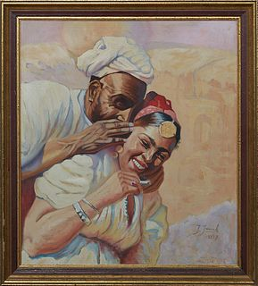 """J. Janick, """"Laughing Couple,"""" 1937, oil on canvas, signed and dated lower right, presented in a gilt wood frame, H.- 19 3/4 in., W.- 17 1/2 in., Frame"""