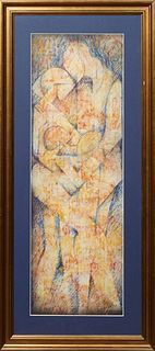 """Albert T. Cooper III (1972-, Los Angeles/New Orleans), """"Couple with Baby and Young Child,"""" 2003, pastel and gouache on paper, signed and dated lower r"""