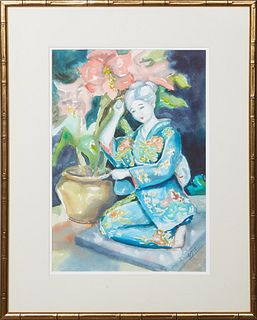 """Judith Dazzio (1942-, Louisiana/Florida), """"Seated Geisha,"""" 20th c., watercolor on paper, signed lower right, presented in a gilt bamboo style frame, H"""
