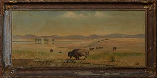 """Wood (American), """"Buffalo Roaming the Plains,"""" 20th c., oil on canvas, signed lower right, presented in a wood frame, H.- 15 1/2 in., W.- 35 1/2 in.,"""