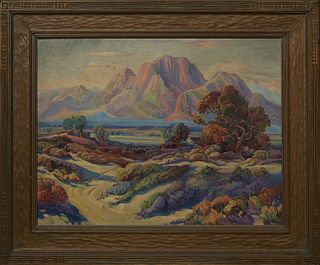 """California School, """"California Landscape at Sunset,"""" early 20th c., oil on canvas board, unsigned, presented in a gilt frame, H.- 17 1/4 in., W.- 23 1"""