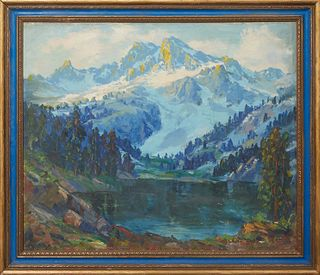"""American School, """"Californian Landscape,"""" early 20th c., oil on canvas, unsigned, with a """"California artist"""" sale sticker en verso, presented in a gil"""