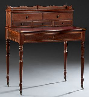 French Louis Philippe Style Inlaid Walnut Writing Table, the superstructure back with a 3/4 serpentine gallery, over two deep drawers above three shal