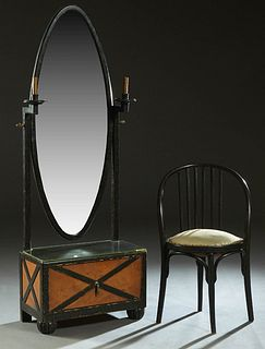 After Jindrich Halabala (1903-1978, Czechoslovakia), Carved Ebonized Oak Vanity Mirror, 20th c., the large oval beveled mirror on two square supports