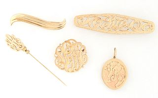 """Group of Five Pieces of 14K Yellow Gold Jewelry, consisting of a """"Sue"""" monogram barrette; a monogram initial pendant; an initial stickpin; an oval ini"""