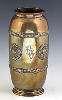 Sterling Relief Decorated Baluster Vase, early 20th c., by Towle, # 25241, of tapering form, with two applied relief decorative belts, flanking four a