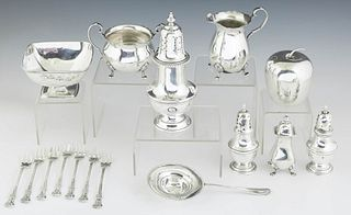 Group of Sixteen Sterling Items, consisting of a square footed candy dish by Towle, #926; an apple form covered box by Wallace, #4182; a tea strainer