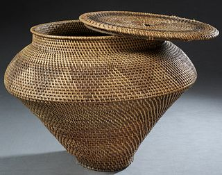Large Native American Covered Woven Willow and Pine Straw Baluster Basket, 20th c., possibly Arapahoe or Shoshonie, H.- 19 in., Dia.- 26 in.