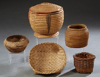 Group of Five Native American Woven Baskets, 20th c., one lidded, one Modoc Klamath, Covered- H.- 9 in., Dia.- 9 1/2 in. (5 Pcs.)