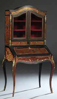 Louis XV Style Ormolu Mounted Boulle Slant Front Secretary Bookcase, early 20th c., the arched top over double beveled glazed doors above two shallow