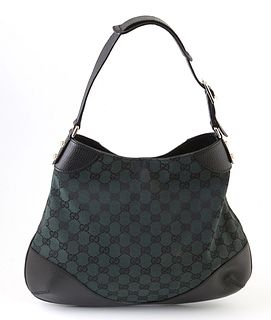 Gucci Dark Green Monogrammed Canvas Hobo Bag Shoulder Bag, the black leather corners and adjustable strap with silver hardware, opening to a black int
