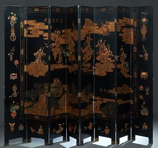 Chinese Eight Panel Polychromed Black Lacquer Dressing Screen, 20th c., with figural and landscape decoration, on brass tipped legs, H.-96 in., W.- Ea