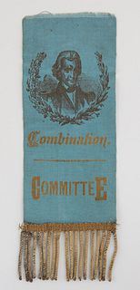 Andrew Jackson Silk Campaign Ribbon Committee, early 19th c., with a printed portrait of Jackson, and gold thread tassels, H.- 7 1/4 in., W.- 2 1/2 in