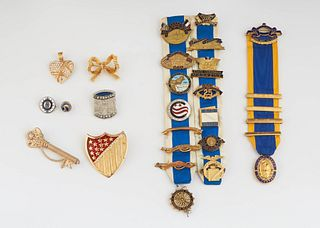 Group of Twenty-Two Daughters of the American Revolution Pins, from various years, 16 of them enameled, including officers' pins. (22 Pcs.)