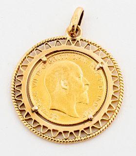 English 1908 22K Sovereign Gold Coin 18K Pendant