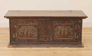 An Italian carved cedarwood and penwork cassone,