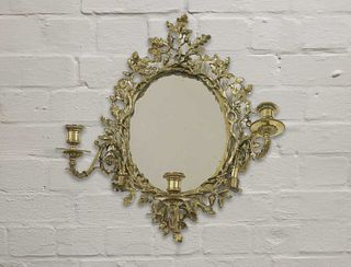 A gilt brass girandole wall mirror,