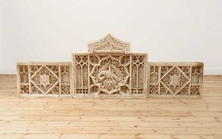 A Gothic Revival carved alabaster triptych,