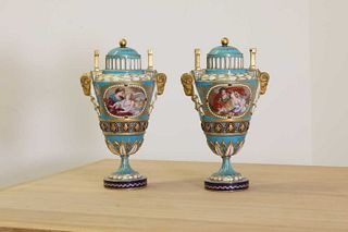 A pair of S?vres-style vases and covers,