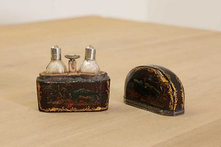 A pair of miniature glass scent bottles,