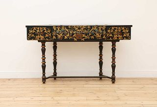 An ebonised and parcel-gilt harpsichord case,