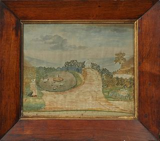Continental Silk Embroidery Panel, of a woman in a garden with ducks in a fountain, 19th c., presented in a wide walnut frame with a gilt liner, H.- 8