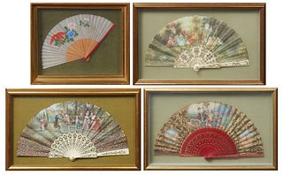 Group of Four Folding Hand Fans, 19th c., consisting of a Chinese cloth example with floral decoration and bamboo spines; a continental example with a