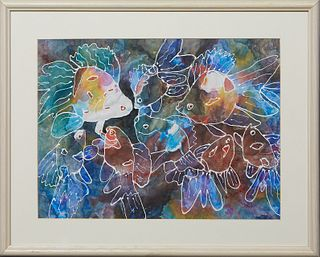 """Doris Cowan (Louisiana), """"Rainbow Fish,"""" 20th c., watercolor on paper, signed lower right, presented in a bleached wood frame, H.- 12 in., W.- 16 in.,"""