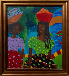 """Mary McConnor, """"Two Women Carrying Baskets on Their Head,"""" 2002, acrylic on canvas, signed and dated lower right, presented in a gilt frame, H.- 14 3/"""