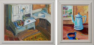 """Kenneth Wayne Cook (New Orleans), """"Artist's Kitchen"""" and """"Coffee,"""" late 20th c., oil on board and oil on canvas, the first signed lower right, the sec"""