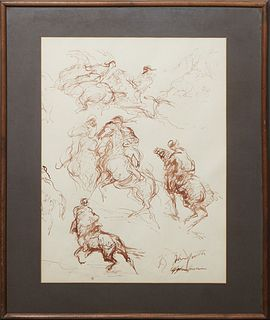"""John Groth (1908-1988, Texas/New York/Illinois), """"Afghan Horsemen,"""" 20th c., ink on paper, signed indistinctly and titled lower right, presented in a"""