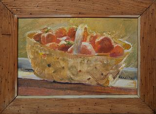"""MN (American), """"Still Life of Creole Tomatoes in a Basket,"""" 1980, oil on board, signed and dated lower right, presented in a wood frame, H.- 11 in., W"""
