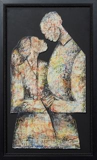 """Albert T. Cooper III (1972-, Los Angeles/New Orleans), """"Couple Holding Hands,"""" 2002, mixed media on paper, signed and dated lower right, presented in"""