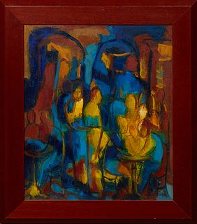"""Catherine Poirite (French), """"Parisian Cafe Scene in Primary Colors,"""" 20th c., oil on canvas, signed lower right, presented in a wood frame, H.- 17 3/4"""
