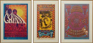 Three Vintage Bill Graham Music Concert Posters, for Buffalo Springfield, BG-98, Dec. 23-27, 1967, at the Fillmore, San Francisco; Cream, BG-109, at t