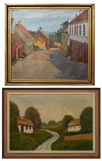 """Continental School, """"Town Street Scene"""" and """"Cottages in the Countryside,"""" pair of oils on canvas, 20th c., unsigned, each presented in wood frames, H"""