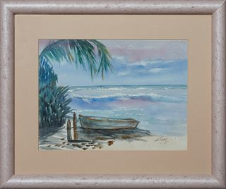 """Caribbean School, """"Boat in the Sand,"""" 21st c., watercolor on paper, signed illegibly lower right, presented in a wood frame, H.- 8 3/4 in., W.- 11 1/2"""