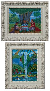 """Poor Lydia (Hawaii), """"Children at a Waterfall"""" and """"Women Arranging Flowers,"""" 21st c., acrylic on board, signed lower right, presented in painted fram"""