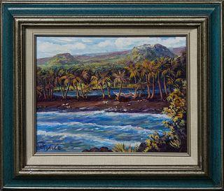 "de Ponce (Hawaii), ""Pumalu'u, Black Sands, Ka'a H.,"" 21st c., oil on canvas, signed lower left, titled en verso, presented in a painted wood frame, H."
