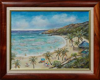 """Herm Lau (Hawaii), """"Hanauma Bay Oahu's Popular Beach Hawaii,"""" 1999, oil on canvas, signed lower right, signed, dated and titled en verso, with artist"""