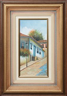 """South American School, """"Casa de J.K.,"""" c. 1999, oil on canvas, signed and dated lower right, signed, dated and titled en verso, presented in a wood an"""