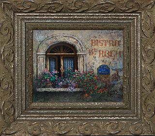 """Chan (Paris), """"Bistro St. Roch,"""" 1999, oil on canvas, signed and dated lower left, presented in s polychromed wood frame, H.- 7 1/4 in., W.- 8 7/8 in."""
