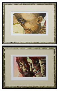 """Robert Mahosky (North Carolina), """"Hidden Face"""" and """"Three Happy Girls,"""" late 20th c., two oils on paper, signed lower left, gallery labels en verso, b"""