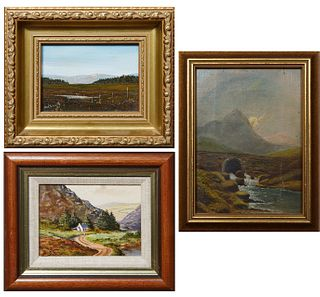 """Three Miniature Irish Landscapes: Irish School, """"Bridge Over Stream,"""" early 20th c., oil on canvas, unsigned, canvas stamped """"Prepared by Winsor & New"""