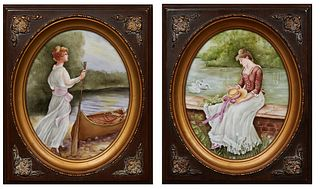 Dot Savoy (American), Two Porcelain Plaques, 2007, One of a woman by a Canoe on the shore; the second of a woman with two swans, one signed lower righ