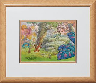 """Walt Disney Studios Animation Cel, """"The New Adventures of Winnie the Pooh,"""" 1988, original hand-painted cel, from show 5, scene 197 of the episode """"Th"""